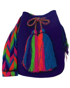Purple and Green Large Wayuu Mochila Bag