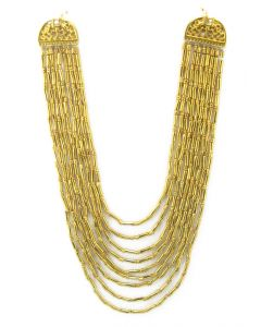 24k GP Pre-Columbian Style Beads Necklace by Across the Puddle
