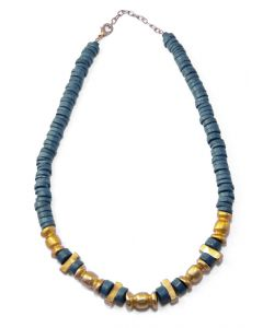 Blue Ceramic and golden Pre-Columbian Style Carved Beads Necklace