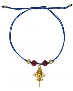 Dull Red Agates and Golden Jet Blue Bracelet
