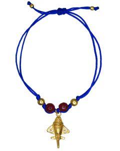 Dark Red Agates and Golden Jet Blue Bracelet