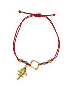Compressed Turquoises and Golden Jet Red Bracelet