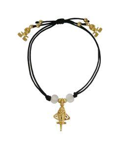 White Crystals and Golden Jet Black Bracelet