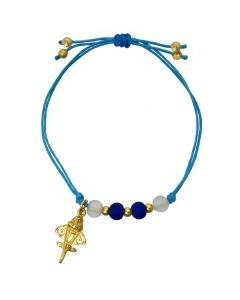 Blue-White Crystals and Golden jet Bracelet