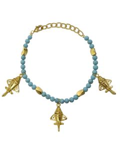 Compressed Turquoises and Golden Jets Bracelet
