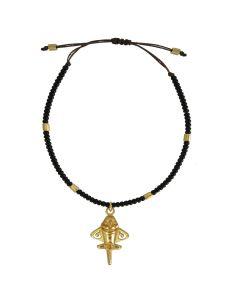 Black Czech Crystals and Golden Jet Bracelet