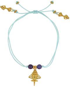 Purple Agate Golden and Golden Jet Bracelet