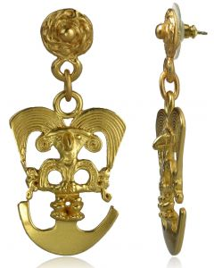 Pre-Columbian Cauca Bird Shaman Dangle Earrings