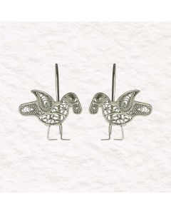 Filigree Handmade .950 Silver Medieval Middle East Bird Reproduction Dangle Earrings