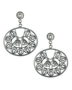 Filigree Handmade .950 Silver Medieval Middle Eastern Kissing Birds  Reproduction Dangle Earrings