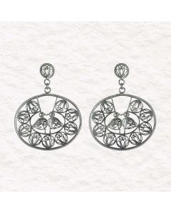 Filigree Handmade .950 Silver Medieval Middle Eastern Kissing Birds  Reproduction Dangle Earrings
