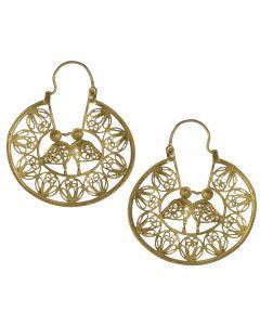 Filigree Handmade 24k GP .950 Silver Medieval Middle Eastern Kissing Love Birds Reproduction Hoop Earrings