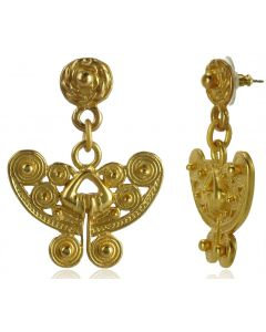 Pre-Columbian Tairona Spirals Butterfly Earrings