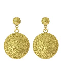 Aztec Solar Calendar Dangle Earrings