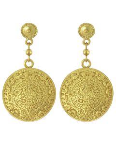 Aztec Calendar Dangle Earrings