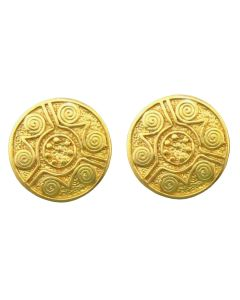 Carved Coin Stud Post Back Earrings