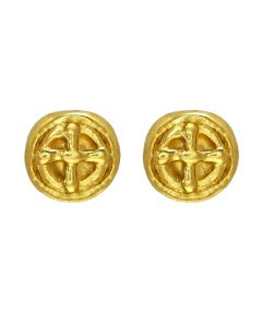 Extra Small Carved Coin Earrings