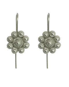 Christiania Filigree Flower .950 Silver Dangle Earrings