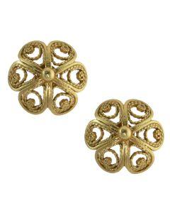 Filigree .950 Silver Spanish Colonial Flower Stud Earrings