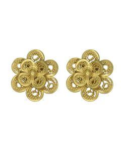 Filigree .950 Silver Spanish Colonial Double Flower Stud Earrings