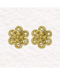 Filigree .950 Silver Spanish Colonial Double Flower Stud Earrings