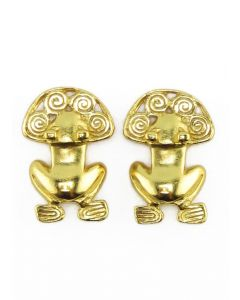 Pre-Columbian Frog with Spirals Stud Post Back Earrings