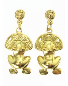 Pre-Columbian Tairona Frog with Spirals Dangle Post-Back Earrings