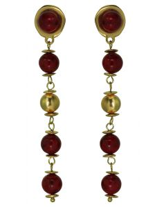Red Fossil Stones and 24k GP Pre-Columbian Style Beads Dangle Earrings