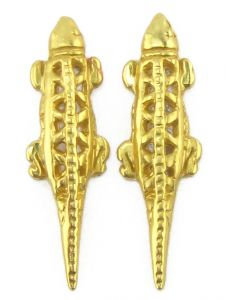 Quimbaya Carved Lizard Earrings