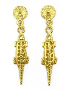 Pre-Columbian Quimbaya Carved Lizard Dangle (S) Earrings