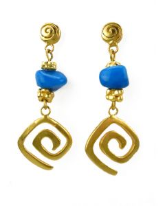 Pre-Columbian Zenu Spiral and Turquoise Dangle Earrings