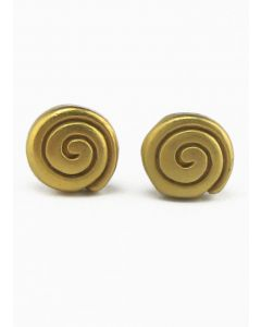Pre-Columbian Long Life Round Spiral Stud Post Back Earrings