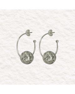 Filigree Handmade .950 Silver Medieval Persian Style Hoop Earrings