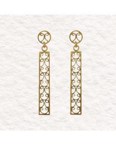 Filigree Handmade 24k GP .950 Silver Late Roman Style Dangle Earrings