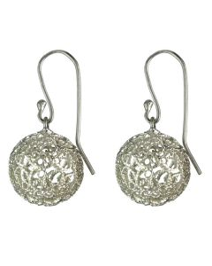 Interlaced .950 Silver Threads Filigree Ball Dangle Earrings