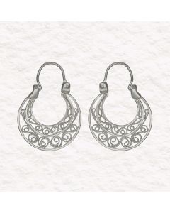 Filigree Handmade .950 Silver Spanish Colonial Style Hoop Earrings