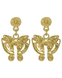 Pre-Columbian Butterfly Nose Ring Dangle Post Back Earrings