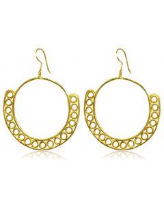Pre-Columbian 24k Yellow Gold Plated 950 Silver Hoop Earrings