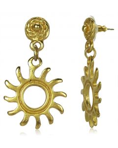 Pre-Columbian Tairona Sun Dangle Post-Back Earrings by ACROSS THE PUDDLE