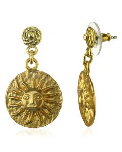 Pre-Columbian 24k gold plated Muisca Full Sun Dangle Earrings