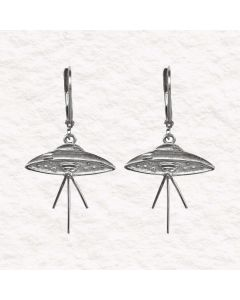 Collectible Elvis Flying Saucer UFO Earrings by ACROSS THE PUDDLE