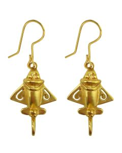 Pre-Columbian Ancient Aliens Aircraft/Golden Jet /Gold Flyer French Wire Earrings