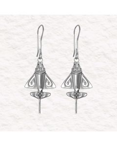 Ancient Aliens Jewelry Collection, Golden Jet Drop Earrings by ACROSS THE PUDDLE