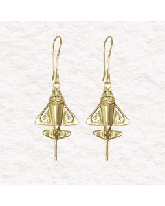 Golden Jet Silver 24k GP 950 Silver Dangle Earrings. Multiple Sizes