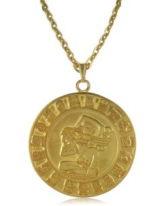 "24k Gold Plated 2"" Mayan Calendar 4.7 mm Thick 22"" Cable Chain Necklace"