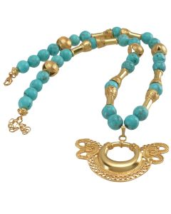 Turquoises Necklace with a Tairona Butterfly Pendant
