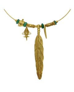 Golden Jet-3 Charm Choker Necklace by ACROSS THE PUDDLE
