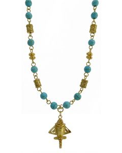 Pre-Columbian 24k Gold Plated Mini Seal Rollers with Turquoises Necklace