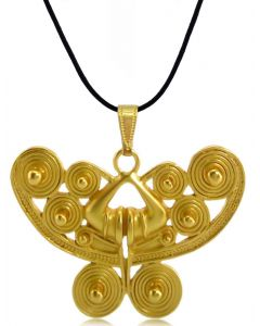 Pre-Columbian Spirals Butterfly Pendant  by ACROSS THE PUDDLE
