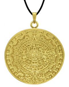 """Aztec Solar Calendar 1.1, """"1.4"""", 1.7"""", 2"""" Pendant with Leather Cord Necklace, Multiple Variations"""